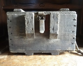 Vintage French Old Wooden Storage Box Trunk Ammunition Explosive Tool circa 1940-50's / English Shop