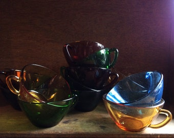 Vintage French glass 13 cups multicolored circa 1960-70's / English Shop