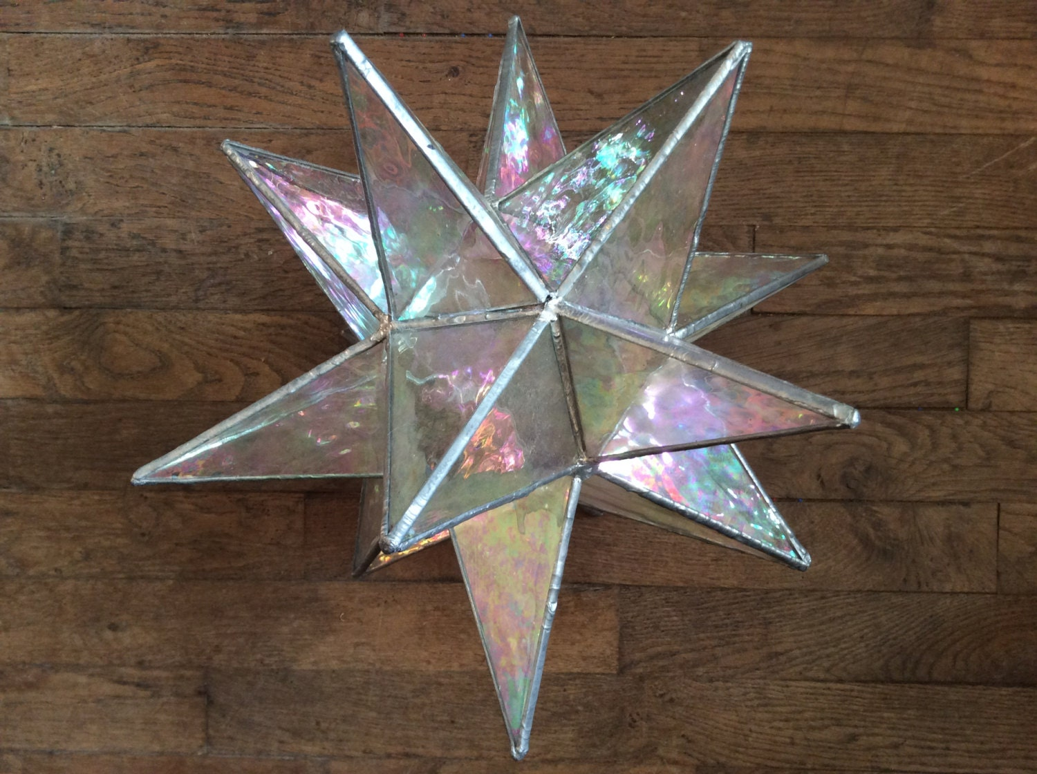 vintage french large heavy glass soldered star lamp shade. Black Bedroom Furniture Sets. Home Design Ideas