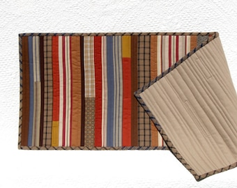 Cozy cabin patchwork table runner, quilted table runner in blue, brown, rust and black