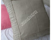 Ruched bedding-Linen euro pillow SHAMs- Ivory White gray oatmeal 26x26 20x26 20x36- standard Queen-king- body pillow- chic decorative pillow