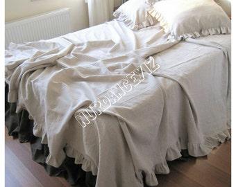 Bedspread King 120x120, queen Bed spread Ruffled bedding-oatmeal beige Neutral Buldan Turkish linen ruffle throw coverlet blanket, top sheet