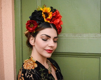 Sunflower Headpiece, Frida Kahlo Flower Crown, Fiesta, Mexican Flower Headpiece, Day of the Dead, Sunflower Crown, Floral Crown, Boho, Frida