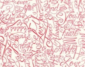 Ever After Ivory Red Words of Love by Deb Strain for Moda