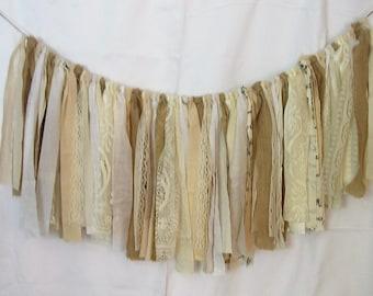 Rag Tie Scrap Banner Photo Prop Burlap  Wedding Decoration Valance Beige and White