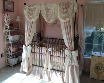 Toile Crib bedding with Canopy Panels & Bedding in Toile/Silk/Lace
