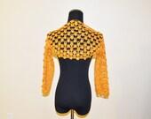 Crochet Flower Bolero, Cotton Cape, Vintage Inspired, Romantic Woman Fashion, Spring Accessory