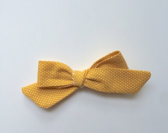 Polka dot mustard yellow dainty bow