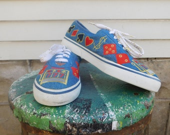 80's Novelty Denim Embroidered Sebastino Tennis Shoes Lady Luck Gambling Casino Sneakers