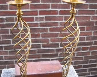 "Pair of Brass Twisted Candle Holders 18"" tall"
