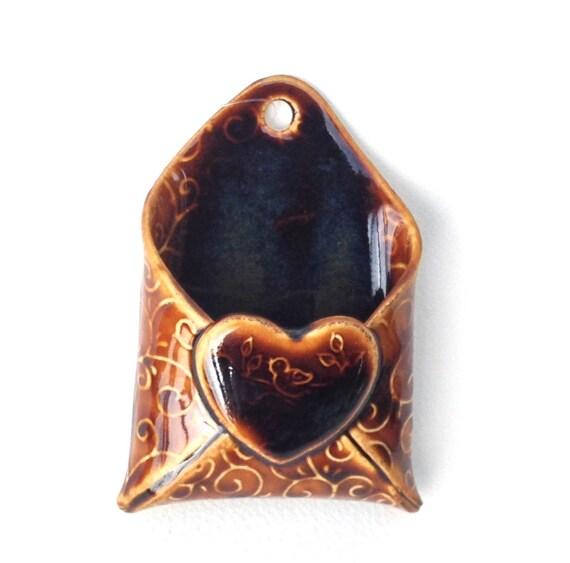 Wall pocket brown vase business card holder toothpick holder - Toothpick holder pocket ...