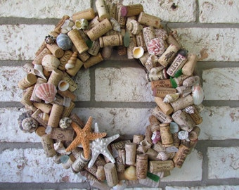 Seashell and Wine Cork Wreath Custom Made
