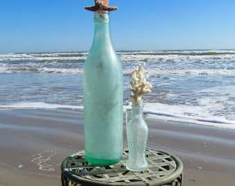 Set of Two Vintage Antique Pale Green Bottles with Starfish and Coral