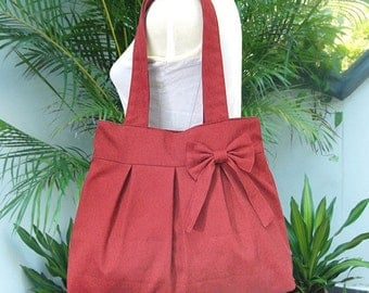 Summer Sale 10% off Red canvas travel bag / tote bag / shoulder bag /diaper bag / bow canvas purse / zipper closure