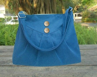 blue cotton canvas purse / cross body bag / messenger bag / shoulder bag / diaper bag