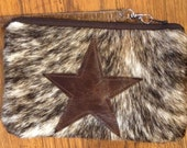 Cowgirl Chic Recycled Upcycled Hair on Hide Leather Star Bag Cosmetic Pouch Hippie Bohemien Chic
