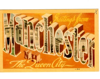 Greetings from Manchester New Hampshire Vintage Postcard