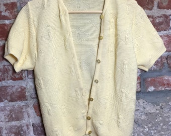 Vintage 80s 90s Sweater Banana Cream Yellow Cardigan Short Sleeve Size Small
