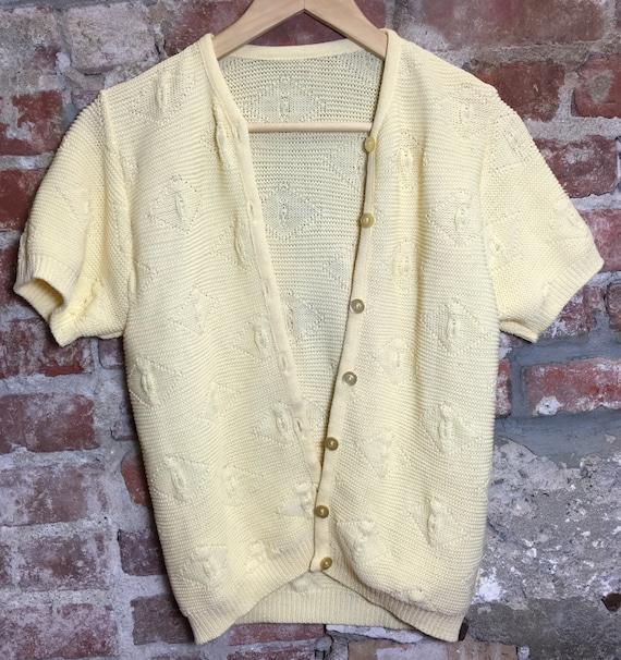 Vintage 80s 90s Sweater Banana Cream Yellow Cardigan Short