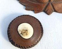 Vintage 1970's Leather Polished Bone Belt Buckle