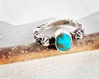 Vintage Native American Sterling Turquoise Ring Size 8.5 signed Jim