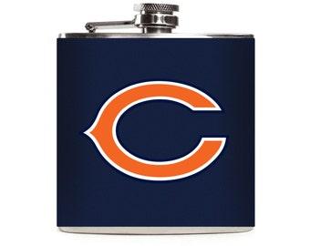 Custom Chicago Bears Flask, Black or Navy Blue Leather, Groomsmen Football Flask, Guys Gift, Mens, 6oz Hip Flask