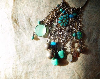 Sterling Silver Tassel Necklace with Turquoise and Gemstone Charms, Birthday Present, Fringe Necklace, Unique Gift for Her