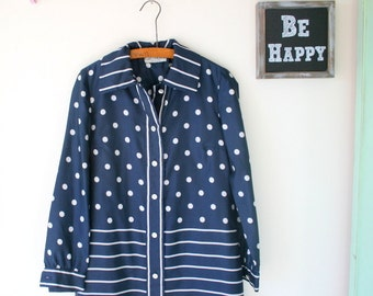 1960s NAVY DOTS Dress....size medium to large womens.....retro. blue dress. polka dots. dots. mod. wiggle. garden party. twiggy. business