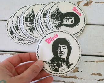 Vintage ELVIS COASTERS.....set of 6......coasters. drink. retro home. gift. housewarming. mod home. the king. rock and roll. elvis presley