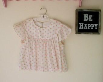 1960s Vintage PEASANT RUFFLES Peasant Girls Dress....white. pink. retro. kids. girls. 1960s dress. ruffles. mod. flower girl. mid century