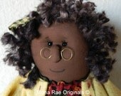 """African American Doll - Sophie ~ 22"""" Tall Poseable Doll ~ Brown, Green, Yellow ~ Bell Flower Included"""