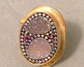SUMMER SALE Aura angel druzy and crystal ring