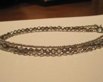 Silver Bead and Grey Crystals Anklet