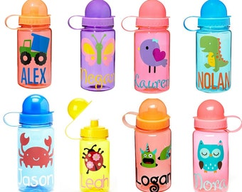SALE! Kids Personalized Water Bottles- Choose Your Designs and Colors- Great Party Favor