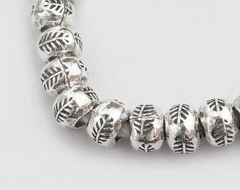 10 of Karen Hill Tribe Silver Leaf  Imprint Beads 6 x 4.5 mm. :ka3563
