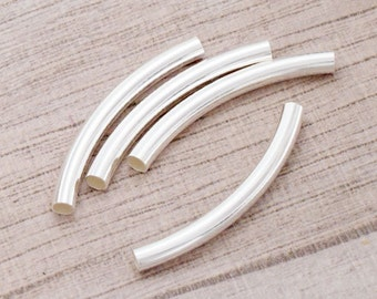 4 of 925 Sterling Silver Curved Tube Beads 3x30 mm. :th2520