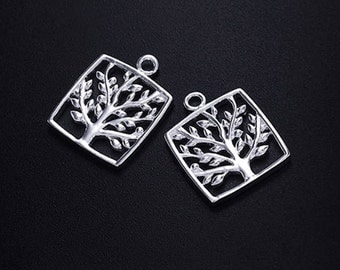 2 of 925 Sterling Silver Tree of Life Pendants 14 mm. Polish Finished. :tm0142