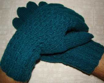 Men gloves- hand knitted, warm, from natural wool