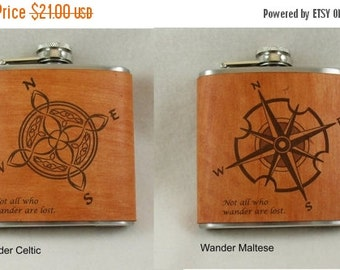 20% OFF SALE Flask with Hand Dyed Engraved Leather Wrap - for all you Wanderers