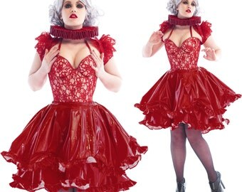 "PVC Pushup Corset - Crimson Lace over Nude PVC - Artifice 32/34 A/B for a 27-30"" waist"