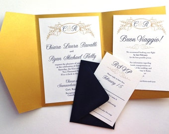 Gold and Navy Pocketfold Invitations