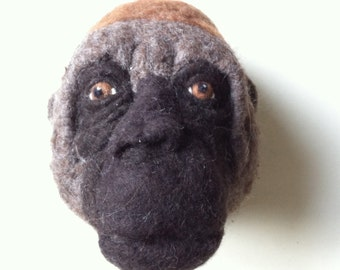 needle felted western gorilla style faux fauna- felt factory - READY TO SHIP