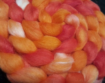 Polwarth/Yearling Mohair/Silk Roving - 65/25/10 - 4 oz - Hand Dyed - Orange and Red Orange