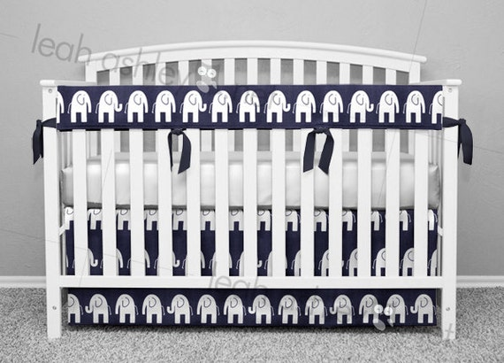 Navy and White Elephant Crib Bedding by Leahashleyokc
