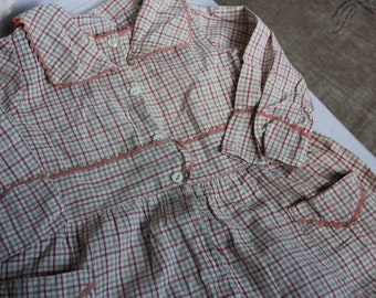 Antique Baby Dress Toddler 3T Plaid Vintage Cotton-B5