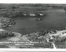 Lake Bonaparte NY Real Photo RPPC Postcard, Looking Down, Harrisville, Photographer Dwight Church, New York State, Vintage Ephemera c1950s