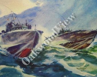 Mosquito Patrol off Aleutians Print by Arthur Beaumont, Torpedo Boats, World War II Navy Print, Vintage 10x13 Ship Art c1940s, FREE SHIPPING