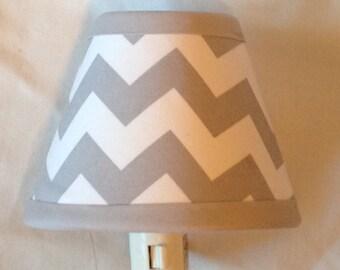 Light Gray Chevron Nursery Night Light