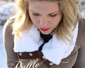 PRESALE White Faux Fur with Leather and Button Scarf