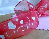 """Sheer Red with White Sparkle Hearts Wire Ribbon... 1.5"""" X 12 Feet"""